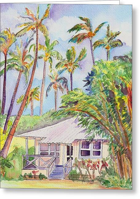 Tropical Island Greeting Cards - Tropical Waimea Cottage Greeting Card by Marionette Taboniar