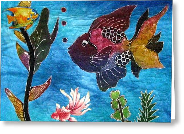 Colorful Tapestries - Textiles Greeting Cards - Tropical Waters II Greeting Card by Judy Sauer