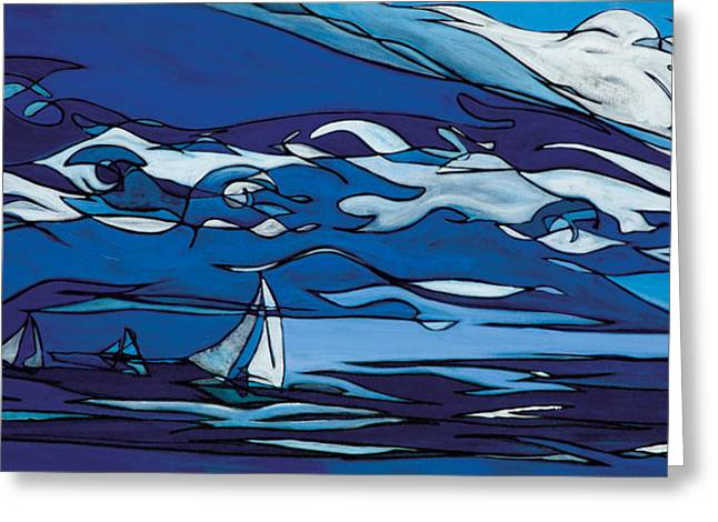 Seascape Paintings Greeting Cards - Trouble Behind Greeting Card by John Gibbs