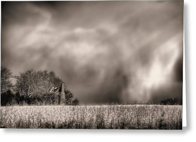 Fauquier County Greeting Cards - Trouble Brewing BW Greeting Card by JC Findley