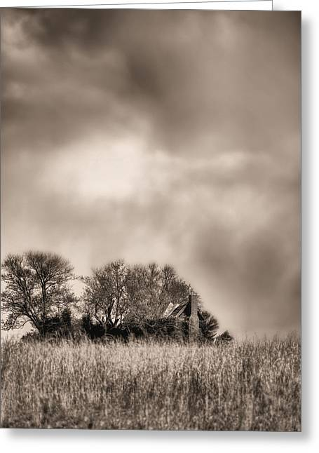 Fauquier County Greeting Cards - Trouble Brewing II BW Greeting Card by JC Findley