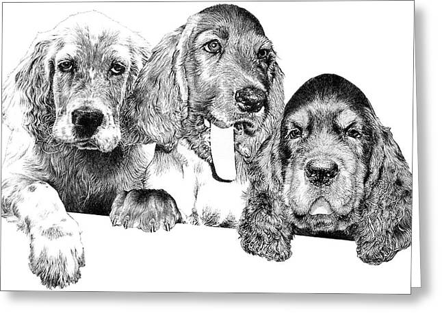 Gordon Setter Puppy Greeting Cards - Trouble Greeting Card by Carole Raschella