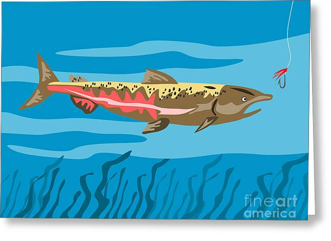 Speckled Trout Greeting Cards - Trout Fish Retro Greeting Card by Aloysius Patrimonio
