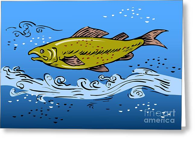 Spotted Trout Greeting Cards - Trout Fish Swimming Underwater Greeting Card by Aloysius Patrimonio
