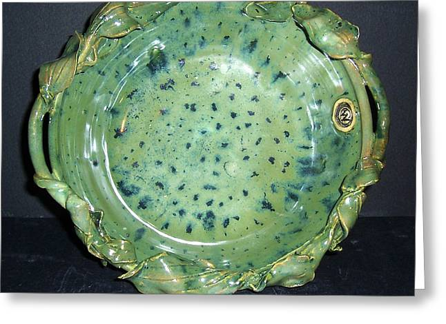 Greens Ceramics Greeting Cards - Trout Pattern Glaze Bowl with Leaves Greeting Card by Carolyn Coffey Wallace