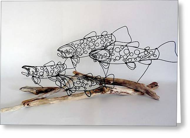 Brown Trout Sculptures Greeting Cards - Trout Stream Greeting Card by Bud Bullivant