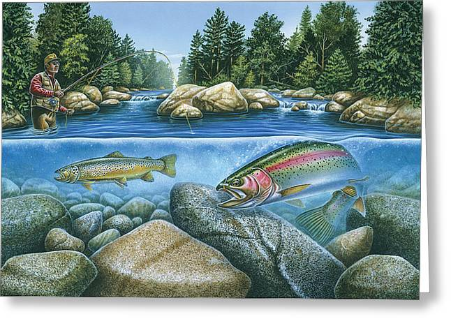 Fly Paintings Greeting Cards - Trout View Greeting Card by JQ Licensing