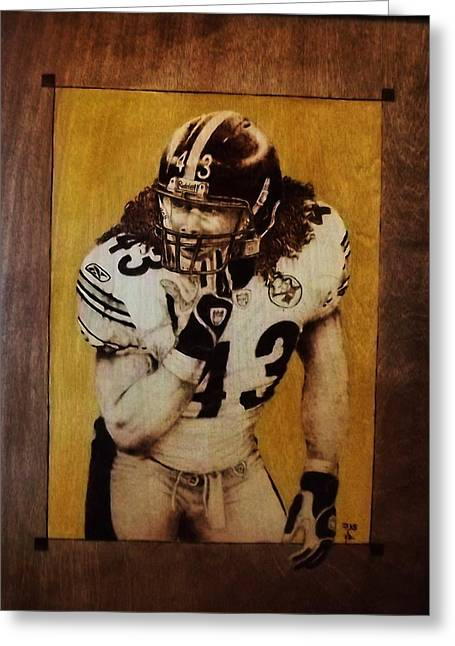 Steelers Pyrography Greeting Cards - Troy Polamalu Greeting Card by Freddy  Smith