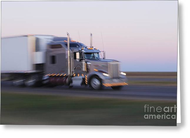 Travel Truck Greeting Cards - Truck on Texas Highway 287 at Sunrise Greeting Card by Jeremy Woodhouse