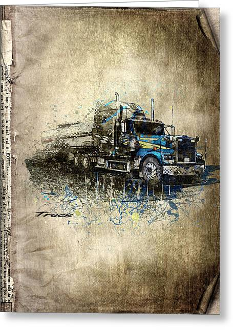 Rare Mixed Media Greeting Cards - Truck Greeting Card by Svetlana Sewell