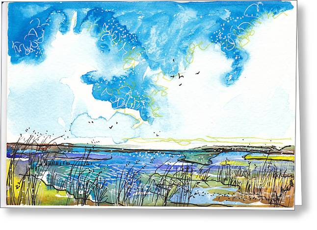 Blue And Green Pastels Greeting Cards - True Blue Marsh Greeting Card by Michele Hollister - for Nancy Asbell
