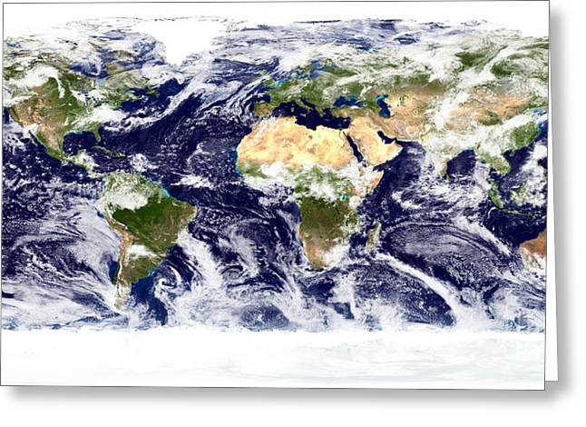 True-color Image Of The Entire Earth Greeting Card by Stocktrek Images