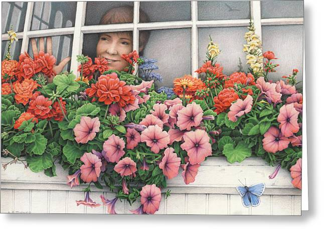 Flower Boxes Drawings Greeting Cards - True Colors Shining Through Greeting Card by Amy S Turner