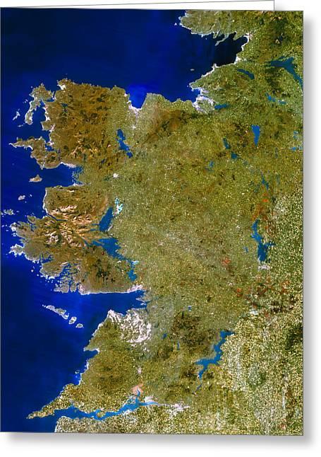 Connaught Greeting Cards - True-colour Satellite Image Of Connaught, Ireland Greeting Card by Planetobserver