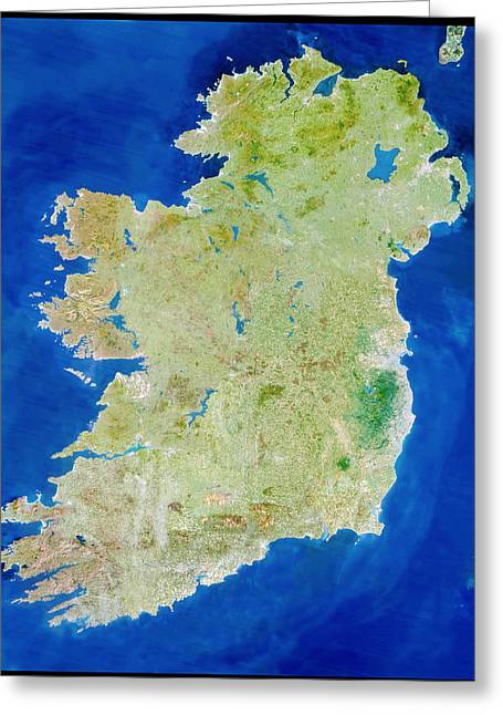 Neagh Greeting Cards - True-colour Satellite Image Of Ireland Greeting Card by Planetobserver