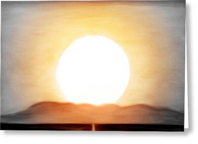 Sunset Posters Greeting Cards - True God Greeting Card by Gina De Gorna