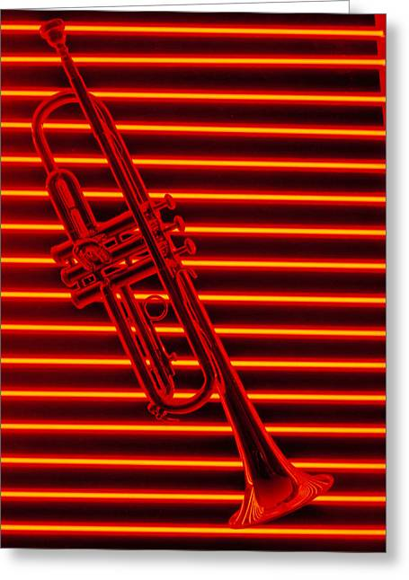 Trumpet Music Greeting Cards - Trumpet and red neon Greeting Card by Garry Gay