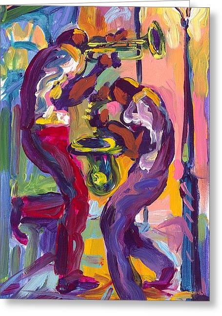 Zydeco Greeting Cards - Trumpet and Saxophone Greeting Card by Saundra Bolen Samuel