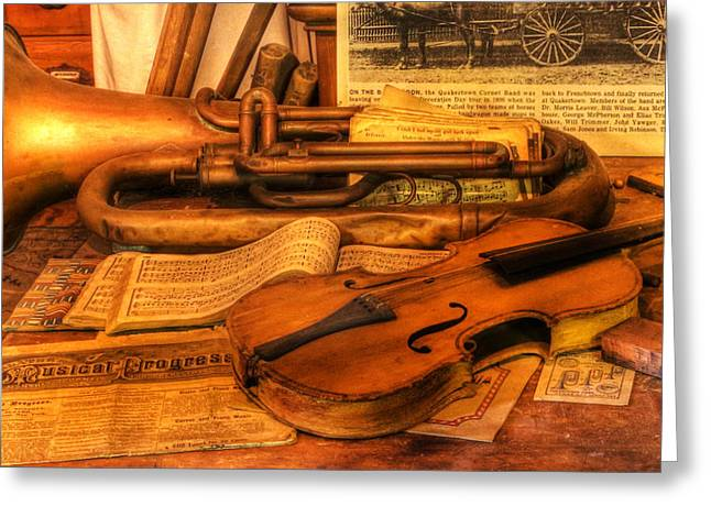 Vector Image Photographs Greeting Cards - Trumpet and Stradivarius at Rest - Violin - nostalgia - vintage - music -instruments  Greeting Card by Lee Dos Santos