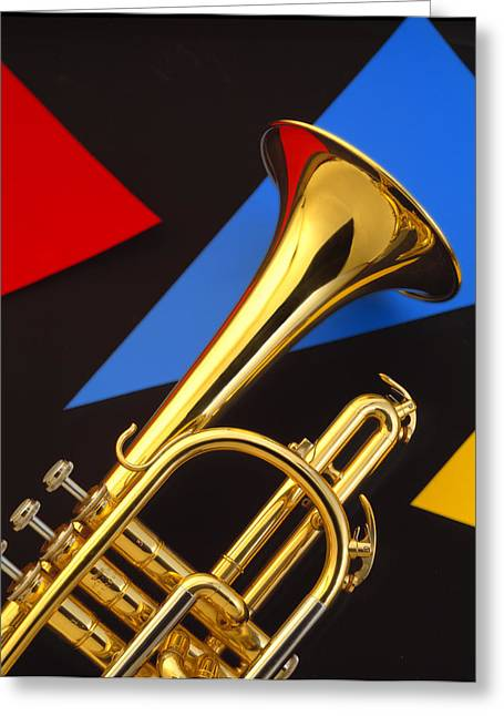 Trumpets Greeting Cards - Trumpet and Triangles Greeting Card by Utah Images