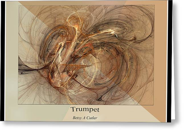 Computer Generated Greeting Cards - Trumpet Greeting Card by Betsy C  Knapp