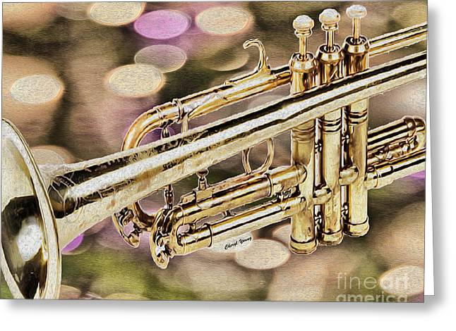 Clef Greeting Cards - Trumpet Greeting Card by Cheryl Young