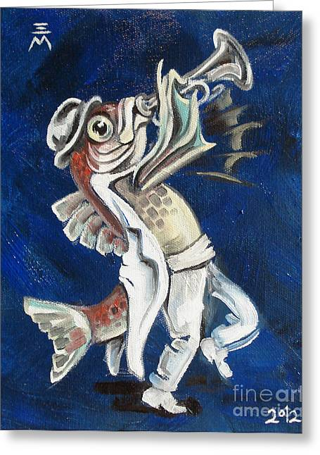 Trumpet Paintings Greeting Cards - Trumpet Fish Greeting Card by Ellen Marcus