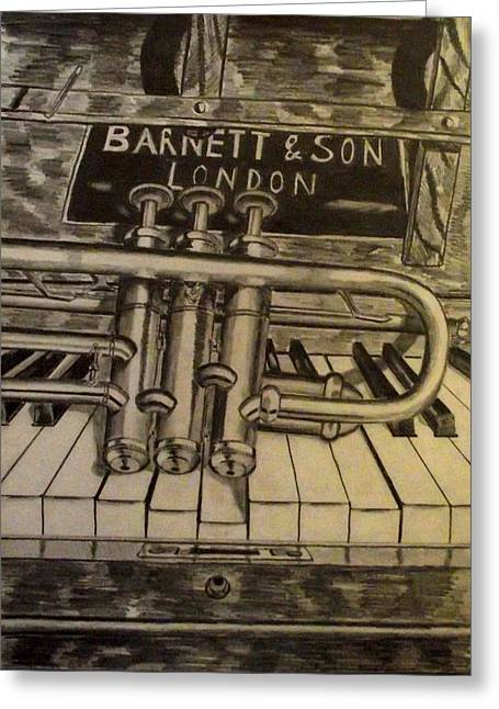 Frame Drawings Greeting Cards - Trumpet On Piano Greeting Card by John  Nolan