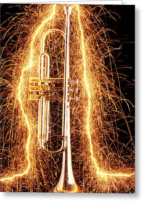 Trumpets Greeting Cards - Trumpet outlined with sparks Greeting Card by Garry Gay