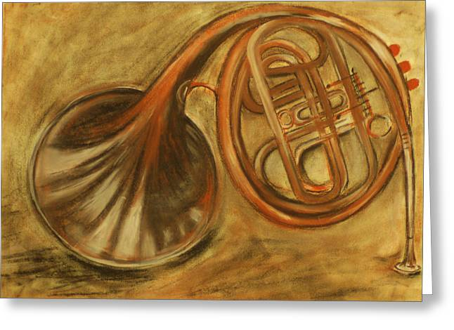 Light And Dark Drawings Greeting Cards - Trumpet Greeting Card by Rashmi Rao
