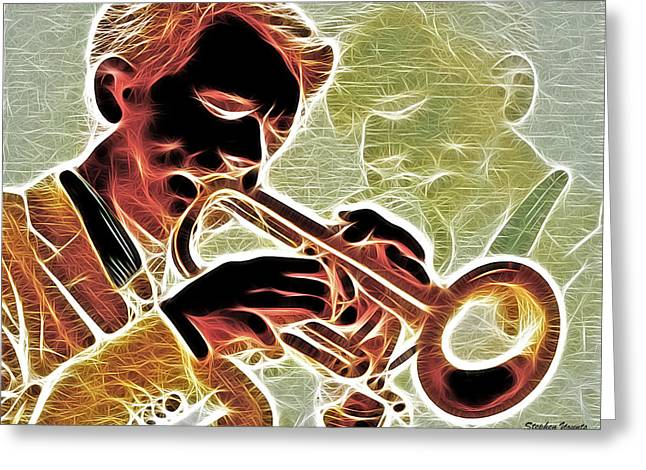 Player Mixed Media Greeting Cards - Trumpet Greeting Card by Stephen Younts