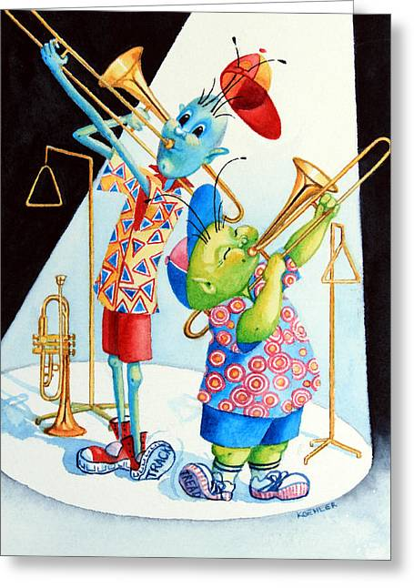Order Kids Book Illustrations Greeting Cards - Trumpet Trombone and Triangle Tunes Greeting Card by Hanne Lore Koehler