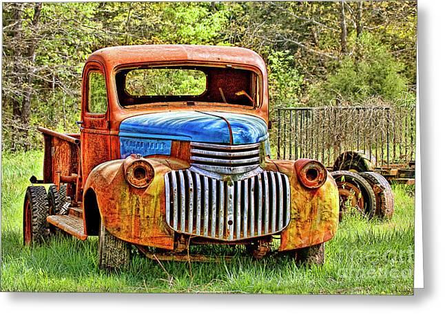 Trusty And Rusty Old Truck Greeting Card by Carolyn Fox