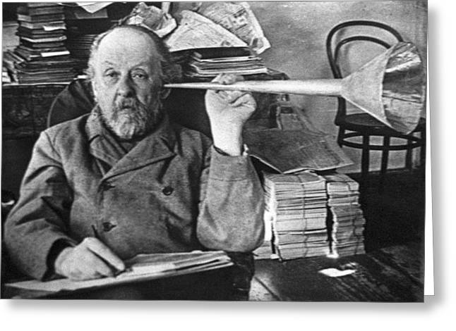 Surname T Greeting Cards - Tsiolkovsky With His Ear Trumpet Greeting Card by Ria Novosti