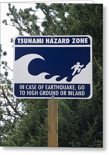 Post Disaster Greeting Cards - Tsunami Warning Sign Greeting Card by Alan Sirulnikoff