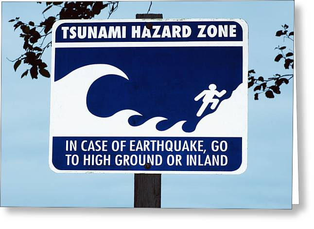 Warning Sign Greeting Cards - Tsunami Warning Sign Greeting Card by Georgette Douwma