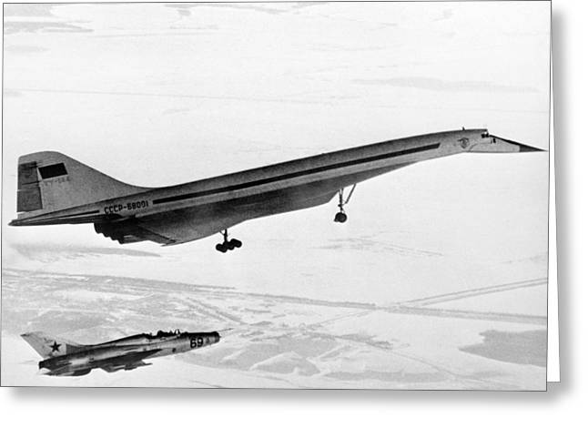 Tupolev Greeting Cards - Tu-144, The First Supersonic Jet , 1969 Greeting Card by Ria Novosti