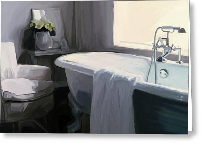 Tub in Grey Greeting Card by Patti Siehien