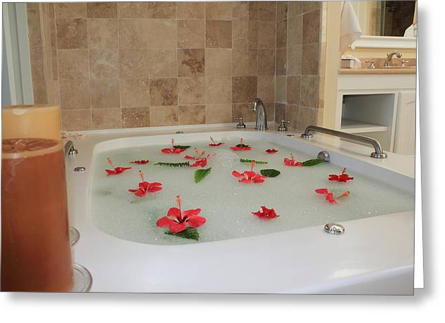 Faucet Greeting Cards - Tub of Hibiscus Greeting Card by Shane Bechler
