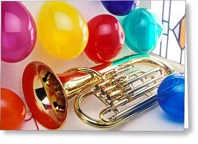 Tuba Greeting Cards - Tuba in window with ballons Greeting Card by Garry Gay
