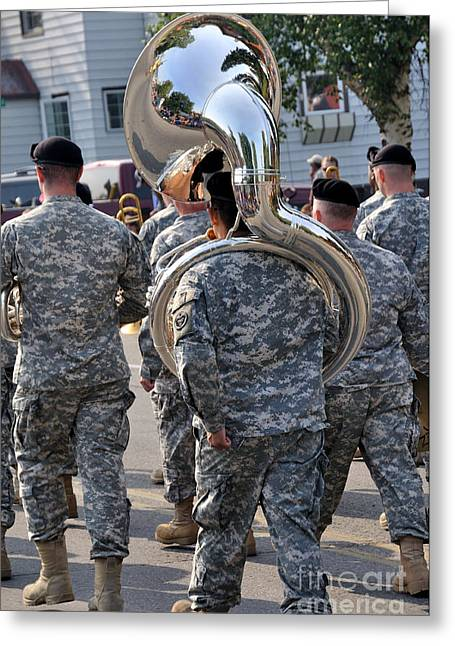 Marching Band Greeting Cards - Tuba Player in a Army Marching Band Greeting Card by Gary Whitton