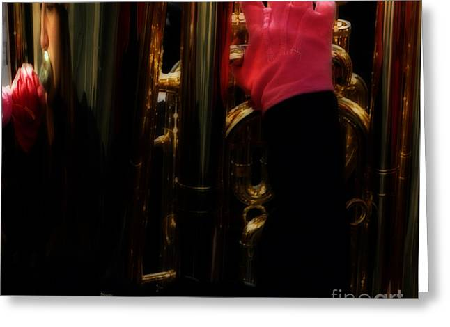 Tubist Greeting Cards - Tuba with Pink Greeting Card by Steven  Digman