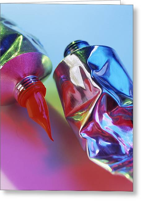 Gouache Photographs Greeting Cards - Tubes Of Paint Greeting Card by Tek Image