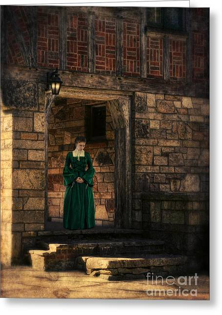 Renaissance Clothing Greeting Cards - Tudor Lady in Doorway Greeting Card by Jill Battaglia