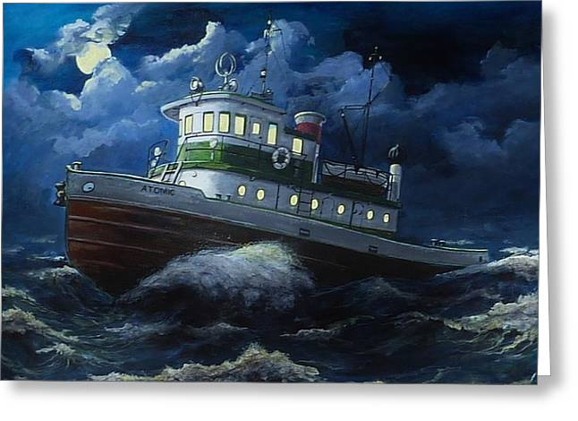 """""""storm Prints"""" Paintings Greeting Cards - Tug boat on rough water Greeting Card by Virginia Sonntag"""