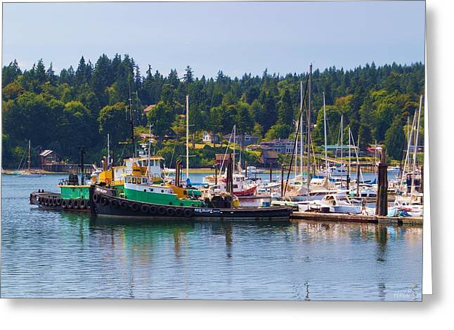 Bainbridge Island Greeting Cards - Tug Boats At Bainbridge Island Greeting Card by Heidi Smith