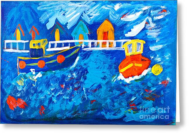 Choppy Water Greeting Cards - Tug Boats at Sea Greeting Card by Simon Bratt Photography LRPS