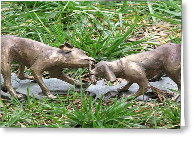 Pets Sculptures Greeting Cards - Tug O Greeting Card by Karen  Peterson