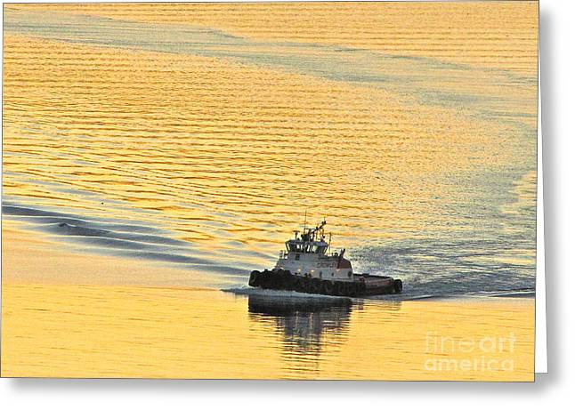 Commencement Bay Greeting Cards - Tugboat at sunset Greeting Card by Sean Griffin