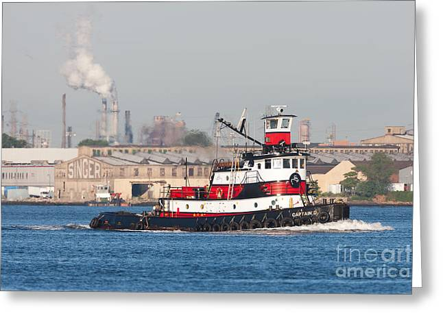 Captain America Greeting Cards - Tugboat Captain D in Newark Bay I Greeting Card by Clarence Holmes